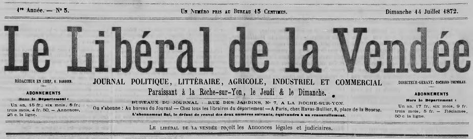 Photo (Médiathèque Benjamin-Rabier (La Roche-sur-Yon)) de : Le Libéral de la Vendée. La Roche-sur-Yon, 1872-1900. ISSN 2131-2729.