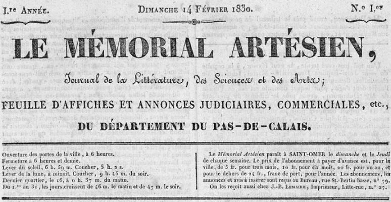 Photo (Bibliothèque d'agglomération (Saint-Omer, Pas-de-Calais)) de : Le Mémorial artésien. Saint-Omer, 1830-1914. ISSN 2131-9901.