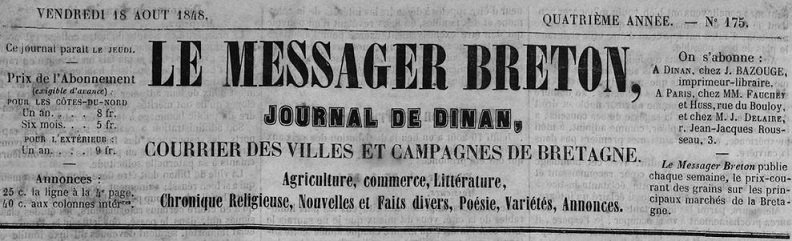 Photo (Côtes-d'Armor. Archives départementales) de : Le Messager breton. Dinan: Jean Bazouge, 1845-1848. ISSN 1963-7756.