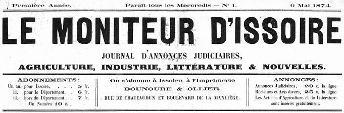 Photo (Issoire (Puy-de-Dôme). Service Documentation-archives) de : Le Moniteur d'Issoire. Issoire, 1874-1939. ISSN 2132-4123.