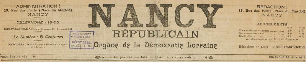 Photo (BnF / Gallica) de : Nancy républicain. Nancy, 1914. ISSN 2100-823X.