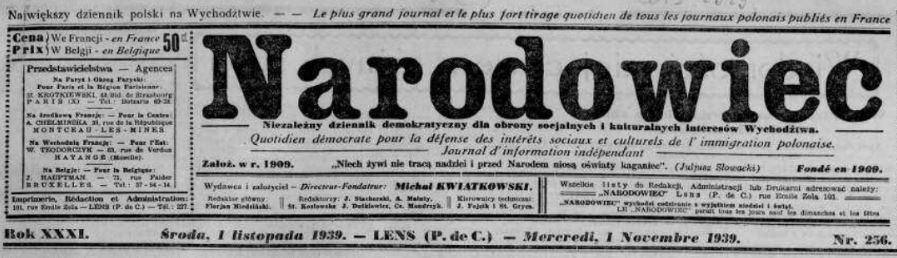 Photo (La Contemporaine. Bibliothèque, archives, musée des mondes contemporains (Nanterre)) de : Narodowiec. Herne [Allemagne], 1909-1989. ISSN 2132-7467.