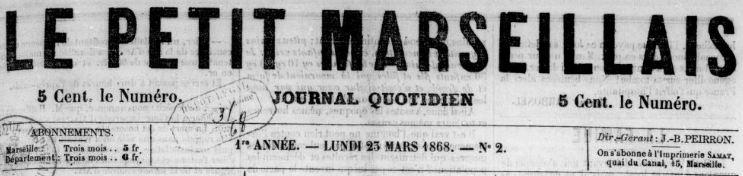 Photo (BnF / Gallica) de : Le Petit Marseillais. Marseille, 1868-1944. ISSN 1256-0472.