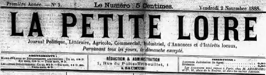 Photo (Bibliothèque municipale (Saumur, Maine-et-Loire)) de : La Petite Loire. Saumur, 1888-[1940 ?]. ISSN 2134-5872.