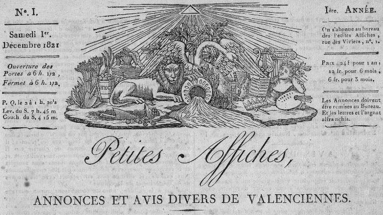 Photo (Bibliothèque municipale (Valenciennes, Nord)) de : Petites affiches, annonces et avis divers de Valenciennes. Valenciennes, 1821-1829. ISSN 2134-7670.
