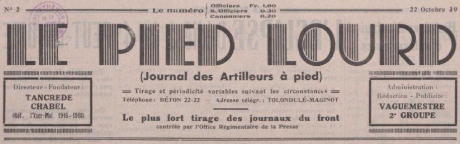 Photo (La Contemporaine. Bibliothèque, archives, musée des mondes contemporains (Nanterre)) de : Le Pied lourd. [S.l.], 1939-1940. ISSN 1963-6121.