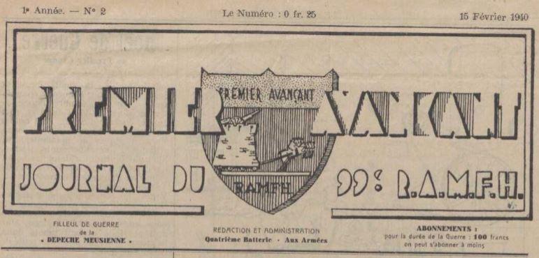 Photo (La Contemporaine. Bibliothèque, archives, musée des mondes contemporains (Nanterre)) de : Premier avançant. [S.l.], 1940. ISSN 2135-2003.
