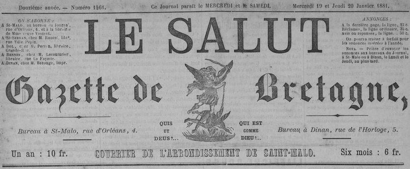 Photo (Côtes-d'Armor. Archives départementales) de : Le Salut. Saint-Malo: Bazouge, 1881-1944. ISSN 2137-7588.