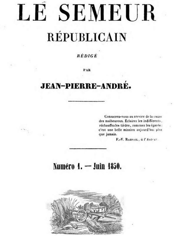 Photo (Bayerische Staatsbibliothek München, Per. 281 m-1/8, S. 5, urn:nbn:de:bvb:12-bsb10618235-6) de : Le Semeur républicain. Arles, 1850-[1851 ?]. ISSN 2138-0503.