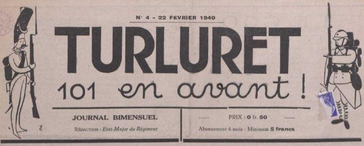 Photo (La Contemporaine. Bibliothèque, archives, musée des mondes contemporain (Nanterre)) de : Turluret 101 en avant !. [S.l.], 1939-1940. ISSN 2111-160X.