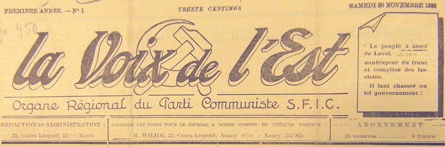 Photo (BnF / Gallica) de : La Voix de l'Est. Nancy, 1935-[1982?]. ISSN 2100-5338.
