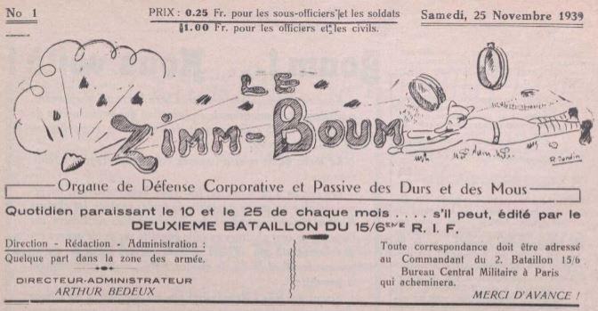 Photo (La Contemporaine. Bibliothèque, archives, musée des mondes contemporains (Nanterre)) de : Le Zimm-Boum. [S.l.], 1939-1940. ISSN 1963-6385.