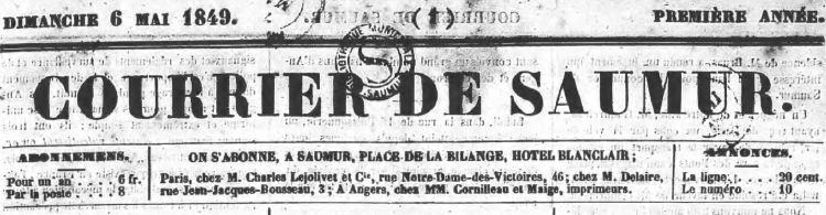 Photo (Bibliothèque municipale (Saumur, Maine-et-Loire)) de : Courrier de Saumur. Saumur, 1849-1920. ISSN 2124-8079.