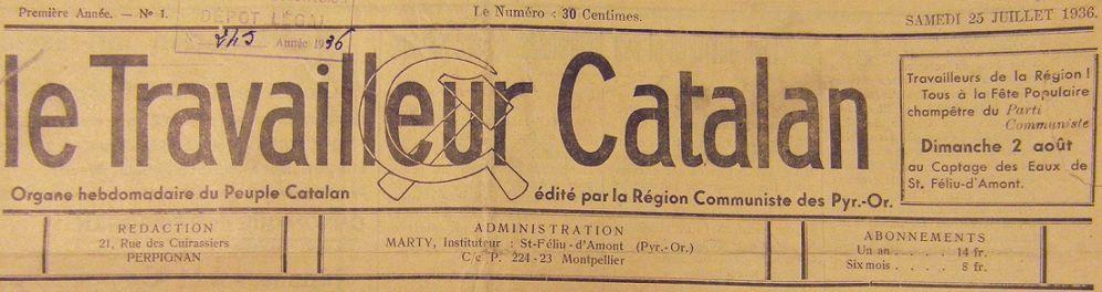 Photo (BnF / Gallica) de : Le Travailleur catalan. Saint-Féliu-d'Amont, Perpignan, 1936-. ISSN 1279-2039.