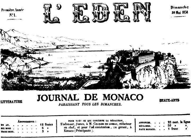 Photo (Journal de Monaco) de : L'Éden. Monaco, 1858-1859. ISSN 1010-8653.