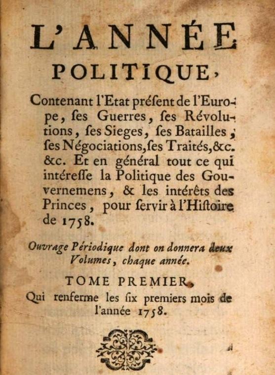 Photo (Bayerische Staatsbibliothek München, Eur. 17-1, S. 5, urn:nbn:de:bvb:12-bsb10404644-1) de : L'Année politique. Avignon: aux dépens de l'auteur, 1759. ISSN 2120-7798.