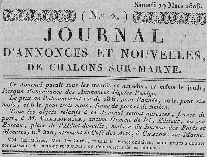 Photo (Châlons-en-Champagne. Bibliothèques municipales) de : Journal d'annonces et nouvelles de Châlons-sur-Marne. Châlons-sur-Marne, 1808-1811. ISSN 1964-3934.