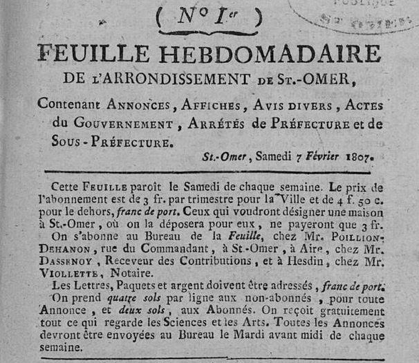 Photo (Bibliothèque d'agglomération (Saint-Omer, Pas-de-Calais)) de : Feuille hebdomadaire de l'arrondissement de St-Omer. Saint-Omer, 1807-1811. ISSN 1967-9270.
