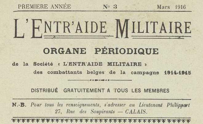 Photo (Vlaams instituut voor archivering) de : L'Entr'aide militaire. Calais, [1916 ?]-[1917 ?]. ISSN 2494-4270.