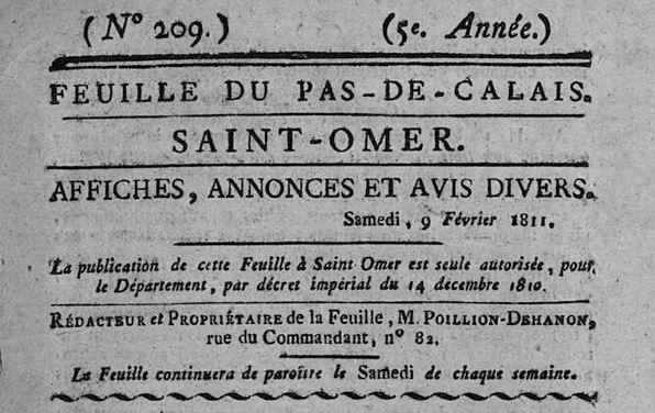 Photo (Bibliothèque d'agglomération (Saint-Omer, Pas-de-Calais)) de : Feuille du Pas-de-Calais. Saint-Omer, 1811. ISSN 2496-2058.