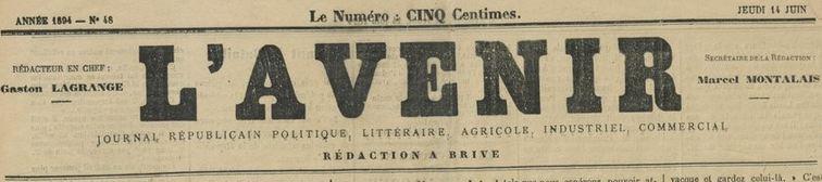 Photo (BnF / Gallica) de : L'Avenir. Brive, 1894-[1896 ?]. ISSN 2121-3070.