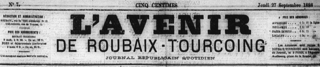 Photo (Médiathèque municipale (Roubaix, Nord)) de : L'Avenir de Roubaix-Tourcoing. Tourcoing, 1888-1914. ISSN 1261-632X.