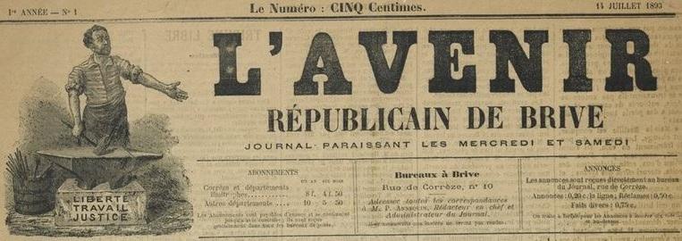 Photo (BnF / Gallica) de : L'Avenir républicain de Brive. Brive, 1893. ISSN 2121-6819.