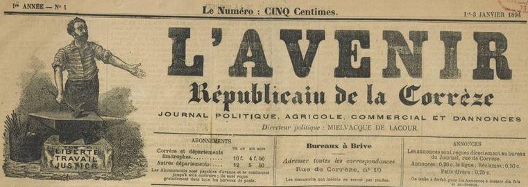 Photo (BnF / Gallica) de : L'Avenir républicain de la Corrèze. Brive, 1894. ISSN 2121-6843.