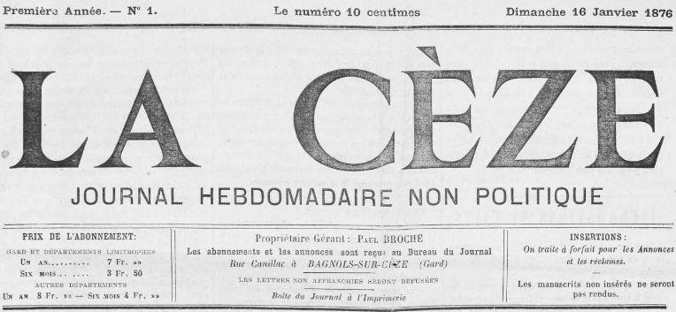 Photo (Occitanie) de : La Cèze. Bagnols-sur-Cèze, 1876. ISSN 2123-6011.