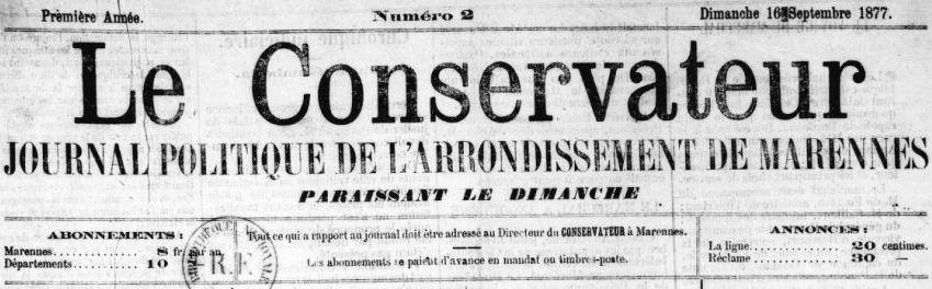 Photo (BnF / Gallica) de : Le Conservateur. Marennes, 1877-1913. ISSN 2124-3514.