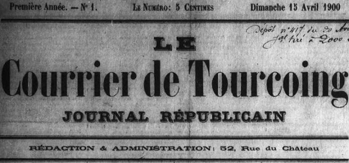Photo (Médiathèque municipale (Roubaix, Nord)) de : Le Courrier de Tourcoing. Tourcoing, 1900-1907. ISSN 0980-6385.
