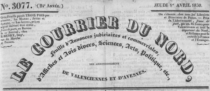 Photo (Bibliothèque municipale (Valenciennes, Nord)) de : Le Courrier du Nord. Valenciennes, 1830-1893. ISSN 2124-8923.