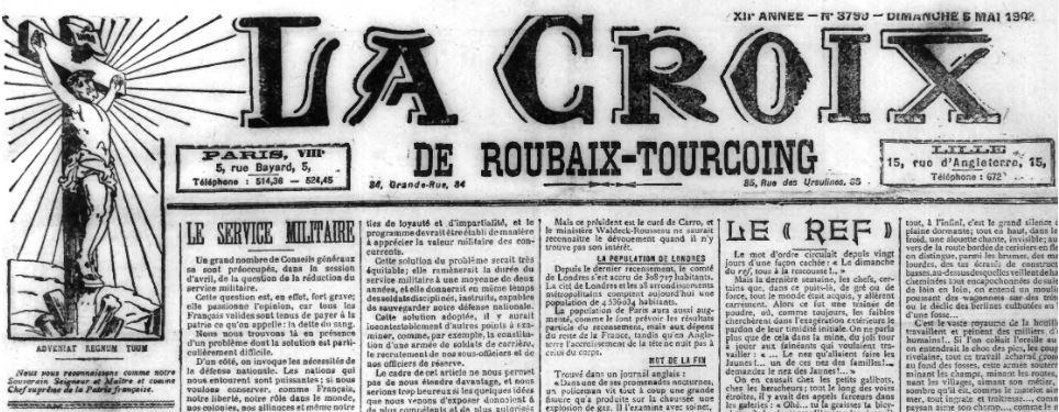 Photo (Médiathèque municipale (Roubaix, Nord)) de : La Croix de Roubaix-Tourcoing. Roubaix, 1901-1914. ISSN 2019-1561.