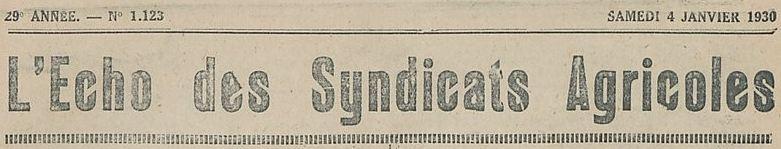 Photo (BnF / Gallica) de : L'Écho des syndicats agricoles. Templeuve, 1904-1944. ISSN 2019-5907.