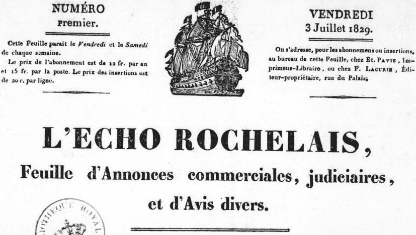 Photo (BnF / Gallica) de : L'Écho rochelais. La Rochelle: E. Pavie, 1829-1941. ISSN 2024-1534.