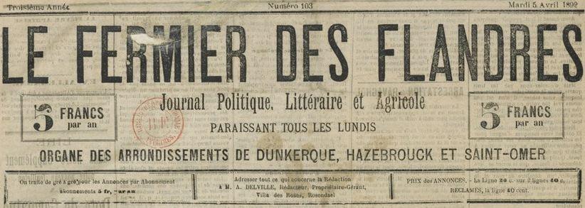 Photo (BnF / Gallica) de : Le Fermier des Flandres. Rosendaël, 1890-1896. ISSN 2127-8598.