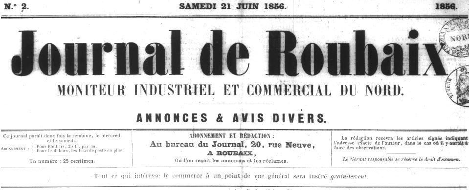 Photo (Médiathèque municipale (Roubaix, Nord)) de : Journal de Roubaix. Roubaix, 1856-1944. ISSN 2017-3318.