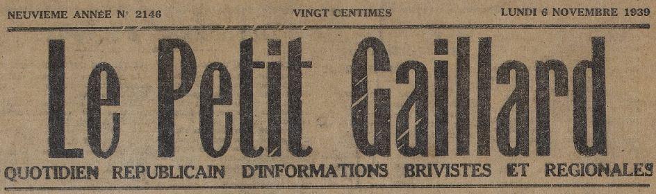 Photo (Collections du Centre d'études et musée Edmond-Michelet, ville de Brive) de : Le Petit Gaillard. Brive, 1931-1944. ISSN 2134-1508.
