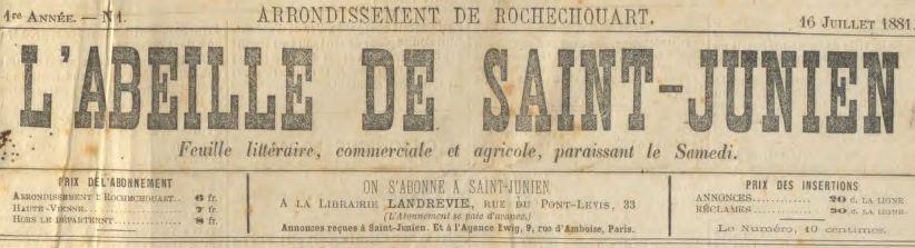 Photo (Saint-Junien (Haute-Vienne)) de : L'Abeille de Saint-Junien. Saint-Junien, 1881-1944. ISSN 1254-0625.