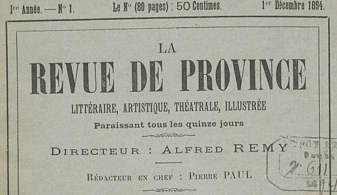 Photo (BnF / Gallica) de : La Revue de province. Besançon, 1894. ISSN 2137-3477.
