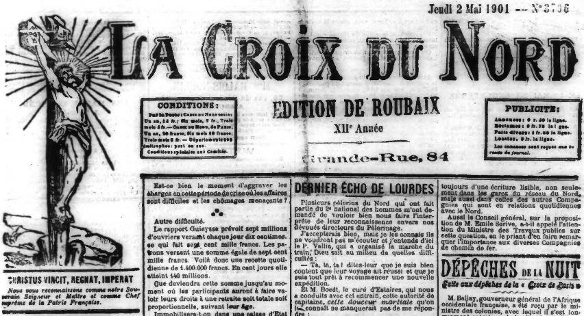 Photo (Médiathèque municipale (Roubaix, Nord)) de : La Croix du Nord. Éd. de Roubaix. Roubaix, [1897 ?]-1940. ISSN 1965-3530.