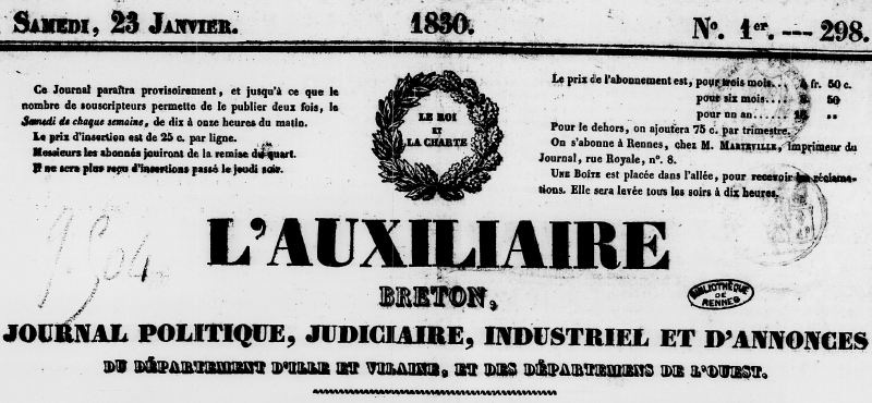 Photo (Bibliothèque de Rennes métropole, Les Tablettes rennaises) de : L'Auxiliaire breton. Rennes, 1830-1849. ISSN 2121-1884.