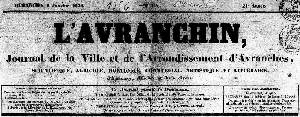 Photo (Centre régional des lettres (Basse-Normandie)) de : L'Avranchin. Avranches, 1856-1944. ISSN 2121-7483.