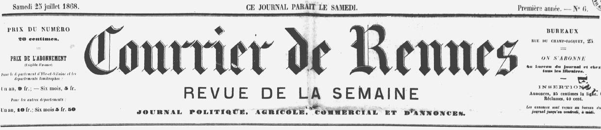 Photo (Bibliothèque de Rennes métropole, Les Tablettes rennaises) de : Courrier de Rennes. Rennes, 1868-1915. ISSN 2124-7986.