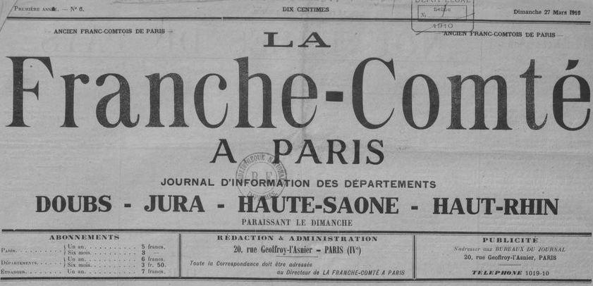 Photo (BnF / Gallica) de : La Franche-Comté à Paris. Paris, 1910-1914. ISSN 2024-5114.