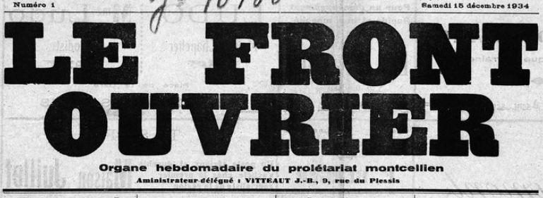 Photo (BnF / Gallica) de : Le Front ouvrier. Montceau-les-Mines, 1934. ISSN 2128-3788.