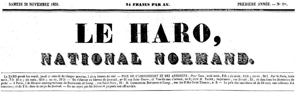 Photo (Centre régional des lettres (Basse-Normandie)) de : Le Haro. Caen, 1839-1851. ISSN 2129-111X.