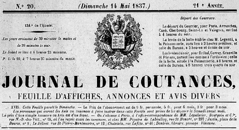 Photo (Centre régional des lettres (Basse-Normandie)) de : Journal de Coutances. Coutances, 1837-1944. ISSN 2130-3401.