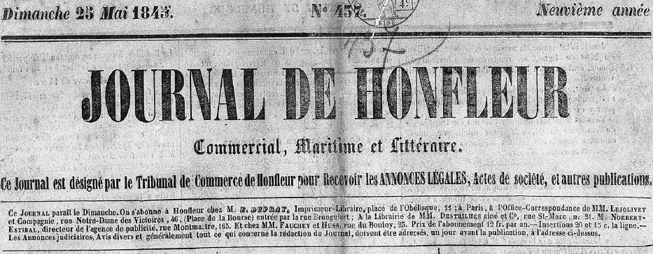 Photo (Centre régional des lettres (Basse-Normandie)) de : Journal de Honfleur. Honfleur, 1829-1911. ISSN 2130-3827.