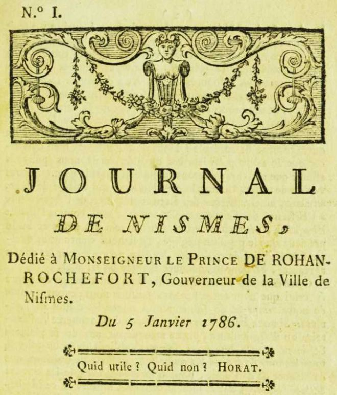 Photo (Occitanie) de : Journal de Nismes. Nismes: impr. Castor Belle, 1786-1790. ISSN 2130-5544.